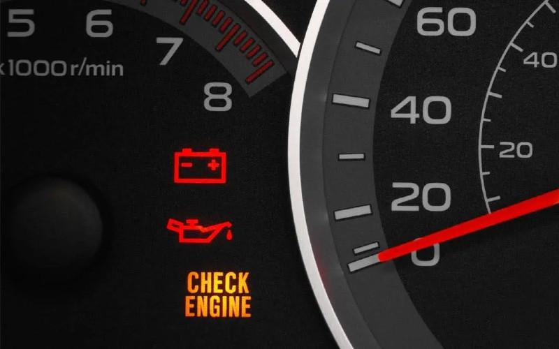 Photo of vehicle warning light indicators.